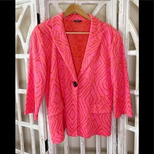 Misook hot pink and orange geometric print blazer